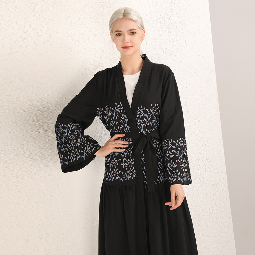 Simple Black Soft Crepe Abaya Muslim Islamic