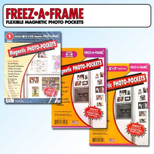 "Clear Magnetic Picture Frames, Set of 4""x6"", 5""x7"" & 8.5""x11"" Magnetic Photo Frames for Refrigerator, Freez-A-Frame"