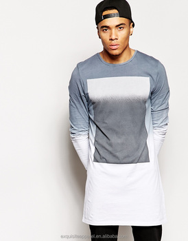 new design fashion european style t-shirt for men long hem t-shirt washable 5759a21cea0