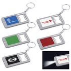 Novelty gift 2 in 1 travel carry on hotel branded logo pocket press on led light plastic rectangle bottle opener with key chain