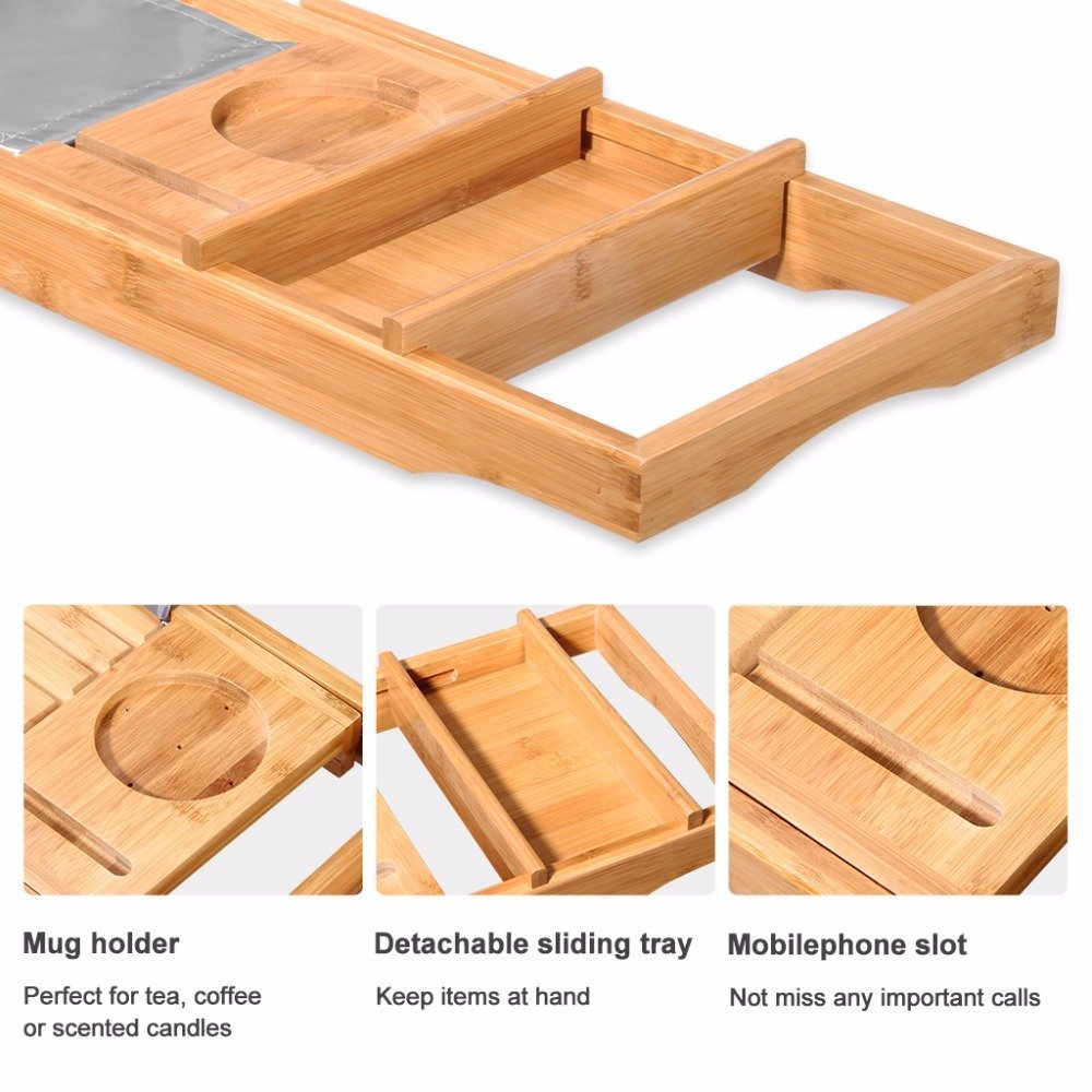 Hot Selling Bamboo Bath Caddy Bathtub Caddy Tray For High Quality