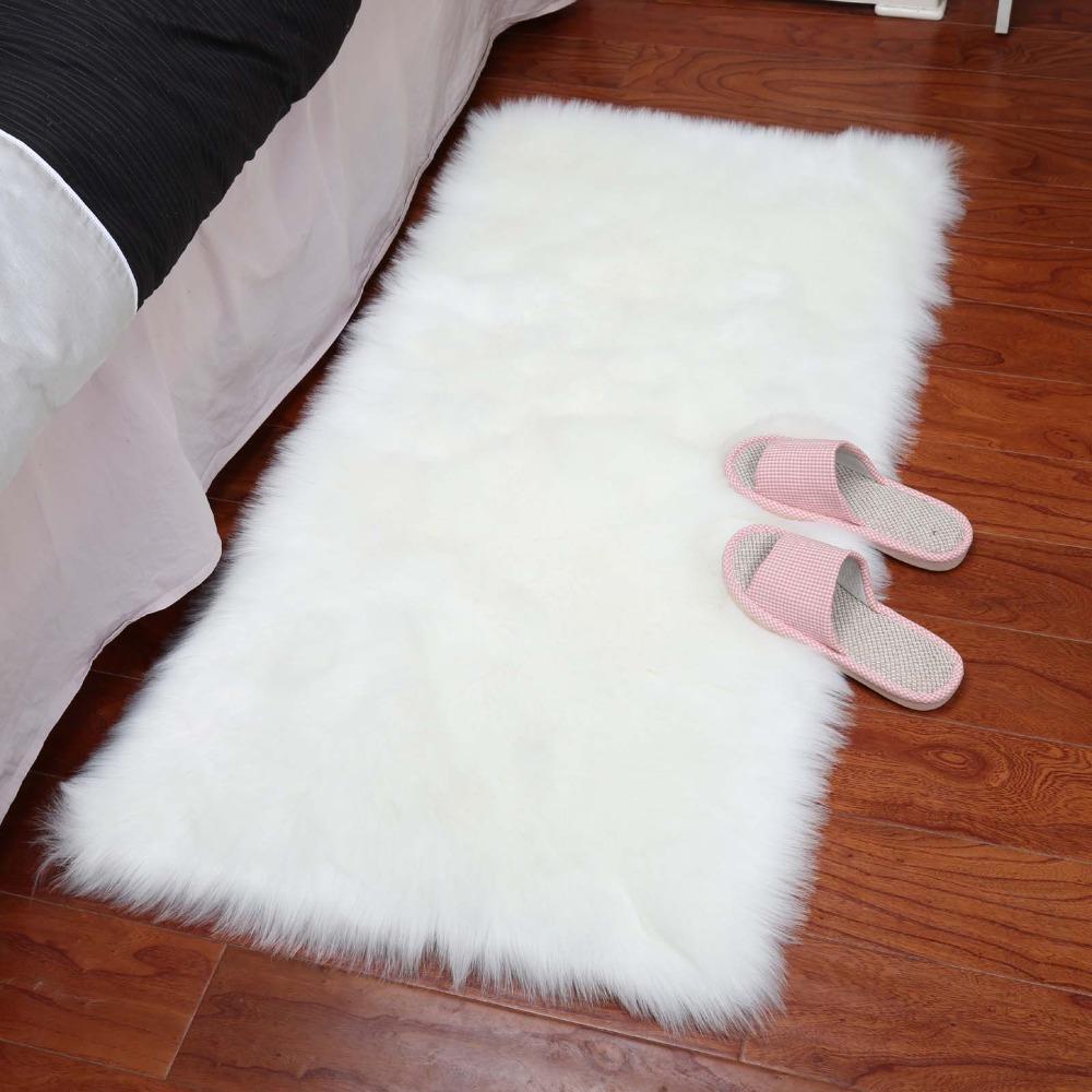 Luxury soft long hair faux fur rug Washable tufted carpet