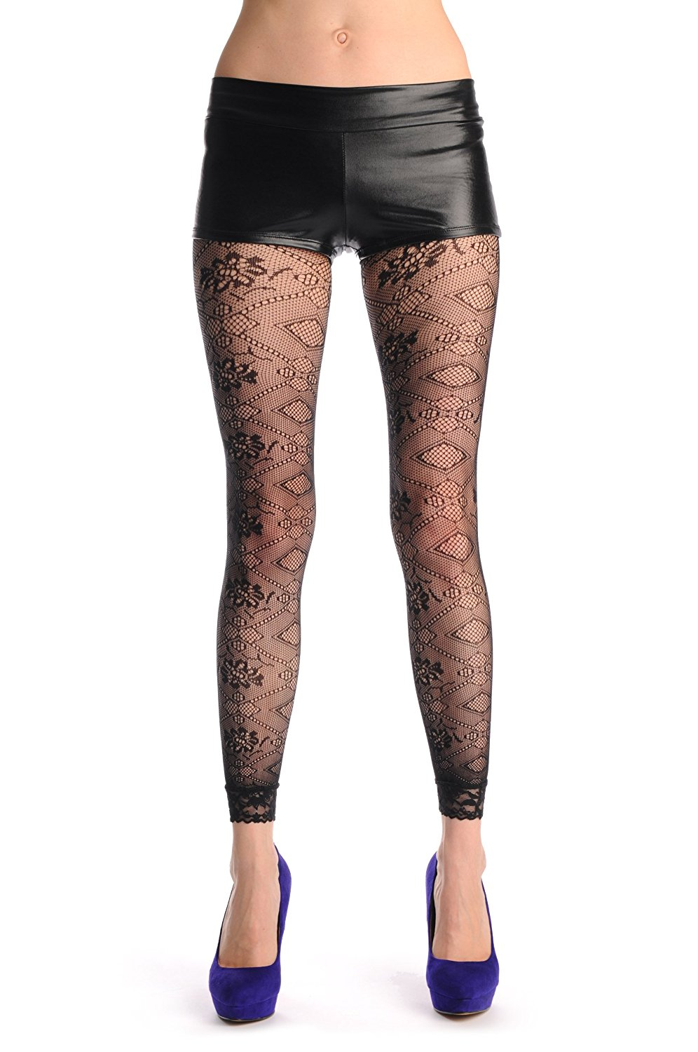 da9881dfd97e5 Get Quotations · Flowers In Rectangles Footless Fishnet - Tights Footless
