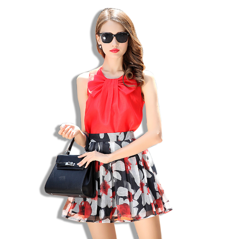 a43f7ac795 Get Quotations · Women Elegant Crop Top Skirt Set Bow O-Neck Tees+Floral  Print High Waist