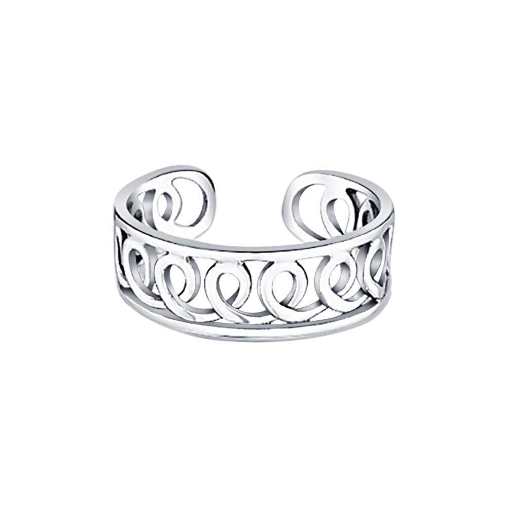 Beautiful Adjustable Infinity Swirl Toe Ring .925 Sterling Silve Plated Wide Midi Ring TRENDY CURL TOE RING