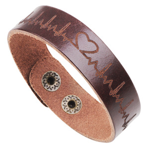 Customized vintage Inspired Printed Leather Bracelet Adjustable Buckle Wristband Male Bracelet