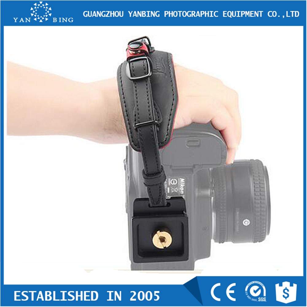 High quality LYNCA E6 black leather camera hand grip wrist strap for DSLR cameras with standard 1/4''-20 tripod socket