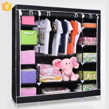 Fabric Wardrobe Portable Closet Folding Clothes Rack Storage Organizer With  Black Color