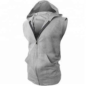 100% cotton fleece blank custom with pockets zip up sleeveless mens hoodie