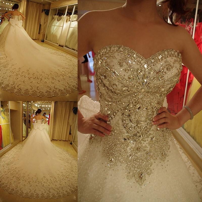 Ne012 Luxury Wedding Dresses Bling Sweetheart Organza Royal Train Crystal Diamond Gowns Plus Size Lace