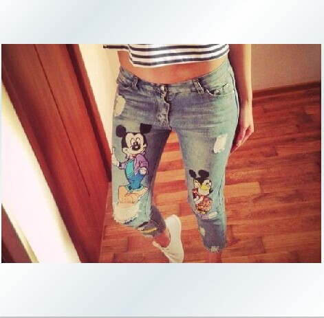 da75a8be46 Plus size 2014 new summer autumn pencil ripped destroyed capris jeans for girls  women with printed cartoon animal mouse