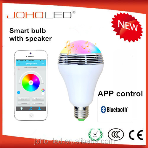 Music Android Apple System IOS RGBW Bluetooth speaker smart led light <strong>bulb</strong> 6w 100-240V