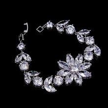 Latest Impressive Real Gold Plating Brilliant CZ Bracelet Wedding Jewellery for Sale