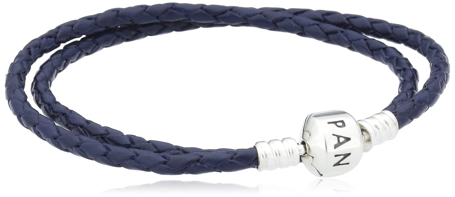 Pandora Double Dark Blue Leather Bracelet 590705CDB-D3