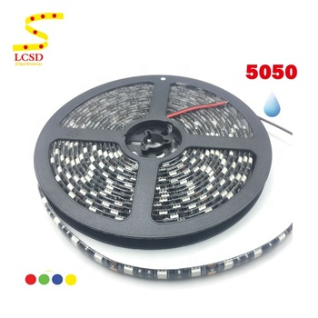5M 14.4W/M Black PCB Waterproof LED Strip Light 5050 12V Red Yellow Blue Color