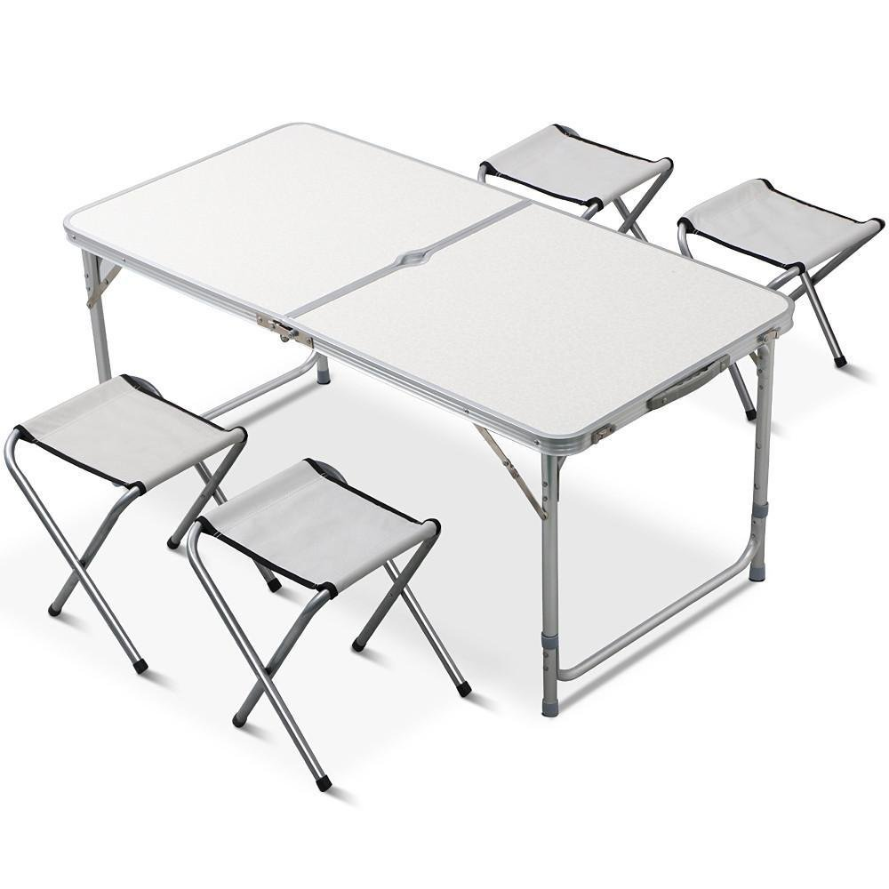 Yaheetech Outdoor Camping Picnic Adjustable Folding Table w/4 Chairs Party Dining
