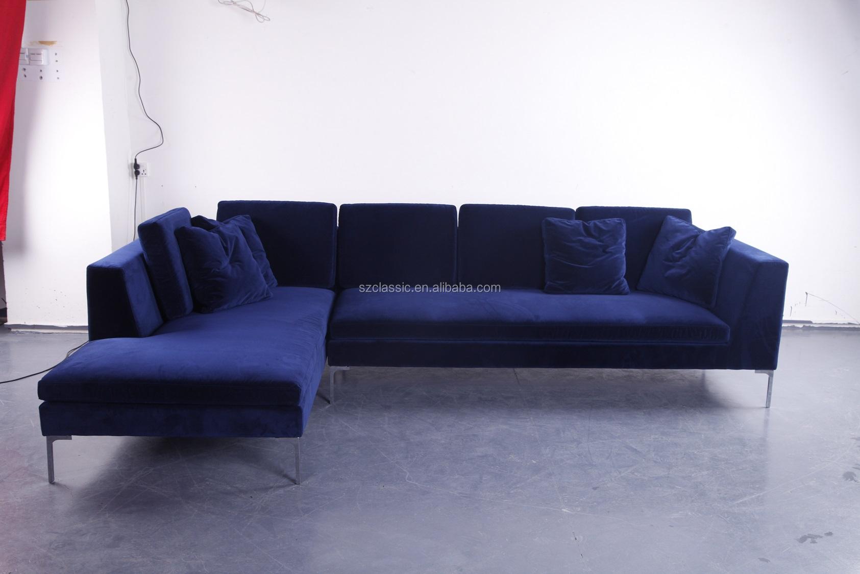Antonio Citterio Design Modern Sectional Navy Blue Velvet Bb Italia