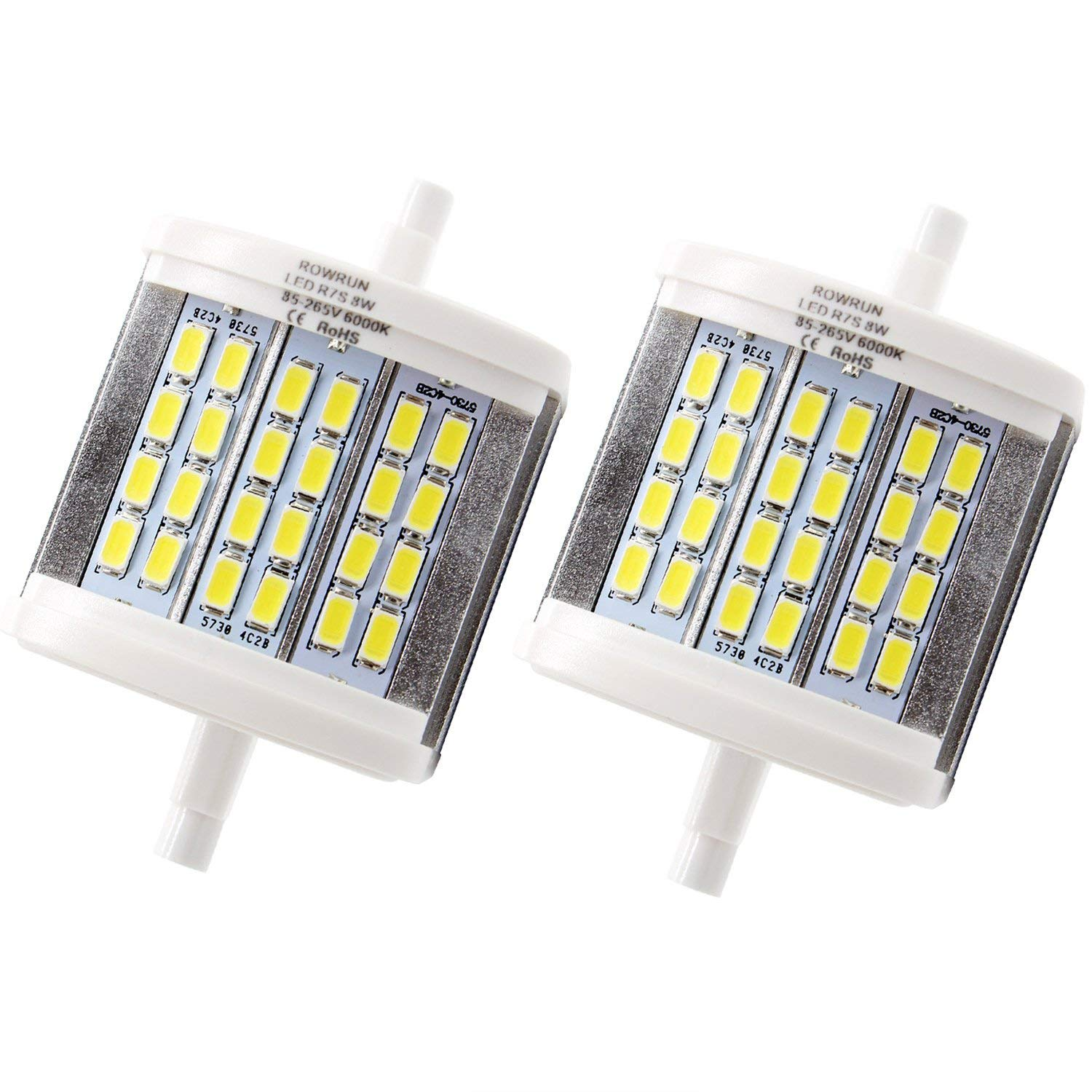 Rowrun R7S 78mm LED Daylight White 6000K 8W Non Dimmable 700LM 24PCS 5630SMD AC85-265V J78 Double Ended Light 75W Equivalent J Type Halogen Bulb Replacement Pack of 2