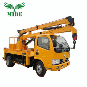 High-altitude aerial operation articulated boom lift platform truck