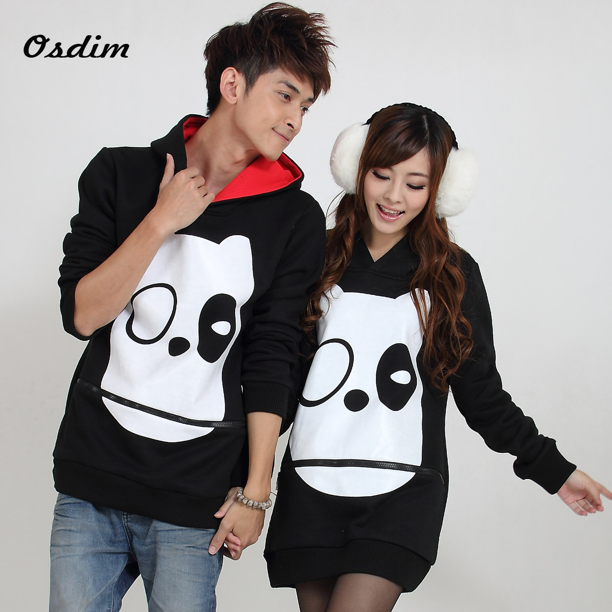 Korean couple hoodies with cute cartoon print autumn ...