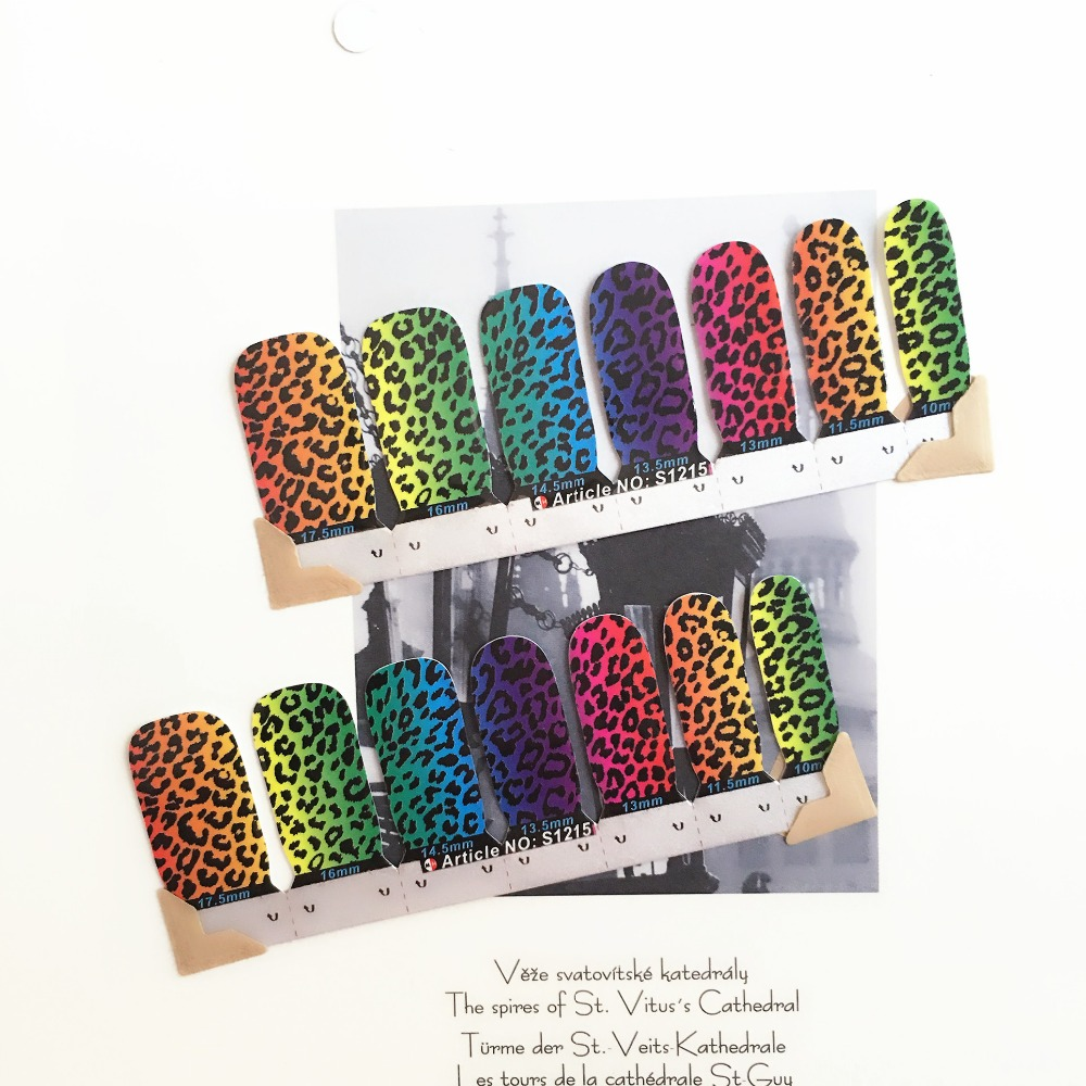 Rainbow Leopard Print Nail Arts Stickers 14 pcs set Full Tape Patch Waterproof Foils Decals Polish