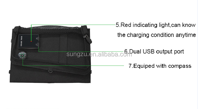 2018 Portable rechargeable solar bag with usb charging function