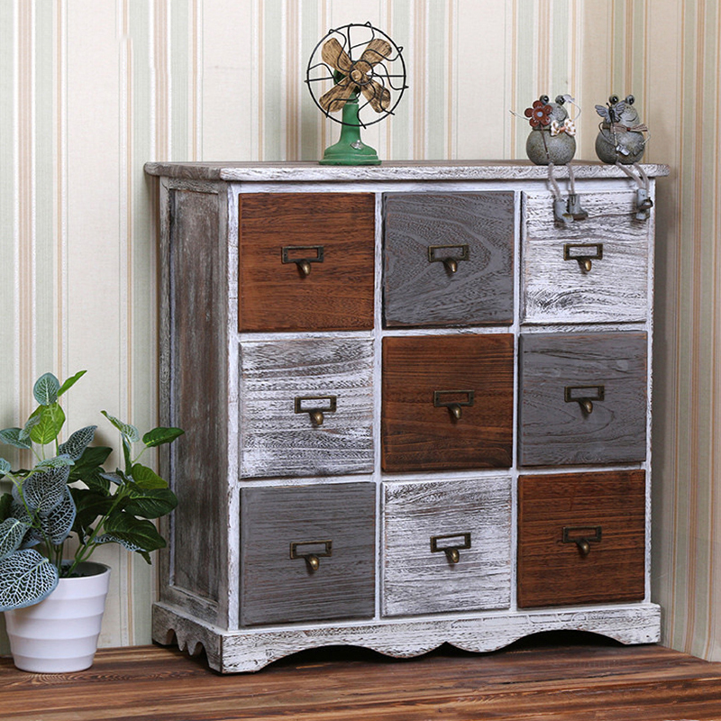 Hot selling Environmental wood furniture Ancient Wooden cabinets with 9-drawers