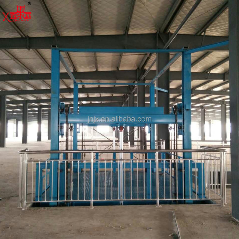 Warehouse cargo lifting Hydraulic Cargo Lift vertical guide rail cargo elevator