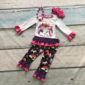 High top selling long sleeve top flower ruffle pants wholesale boutique kids clothing fall outfits with unicorn printing