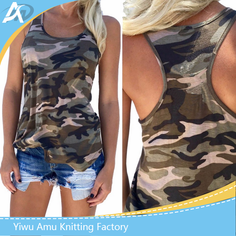 Fashion 2017 Women's Summer Tank Tops Camouflage Wild Round Neck Sleeveless Female Blouses Streetwear Casual Vest