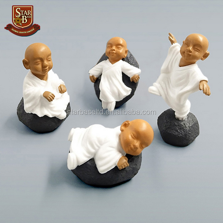 Chinese buddhism monks bonsai figurine miniature decoration fairy garden people statue Kawaii resin craft