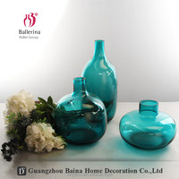 Modern Blue Glass Flower Vase Round Tall Wholesale Table Glass Vases For Wedding Centerpieces Decoration