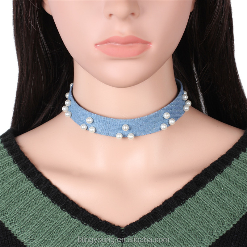2017 new arrival denim ribbon imitation pearl choker