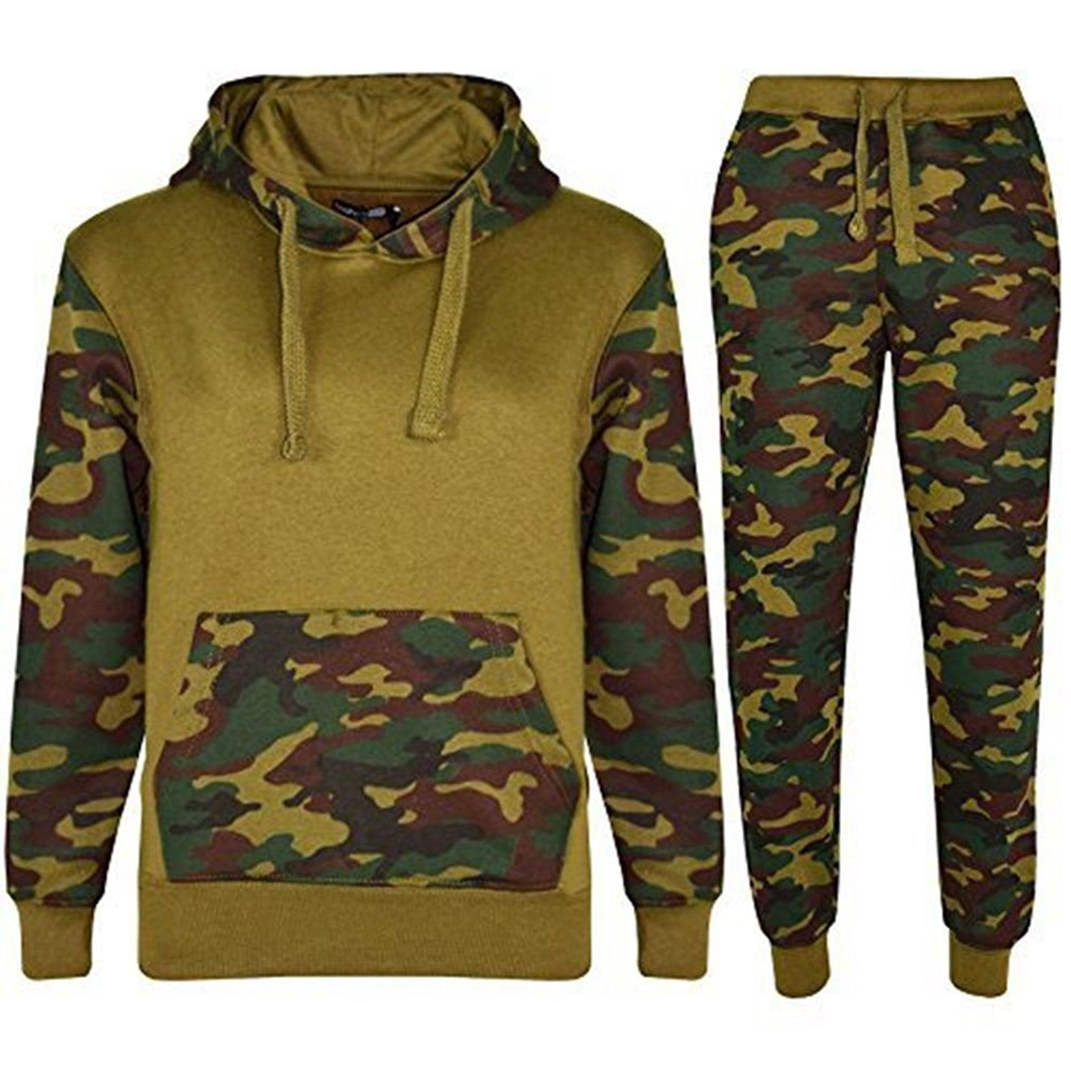 NOROZE Mens Sports Army Camouflage Tracksuit Hoodie Zipper Joggers 2 Piece Suit