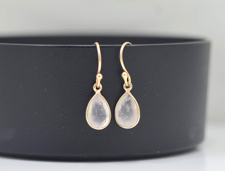 Teardrop Rose Quartz Earrings Rose Gold, Pink Quartz Earrings Silver, Pink Gemstone Earrings, Rose Gold Minimalist Earrings