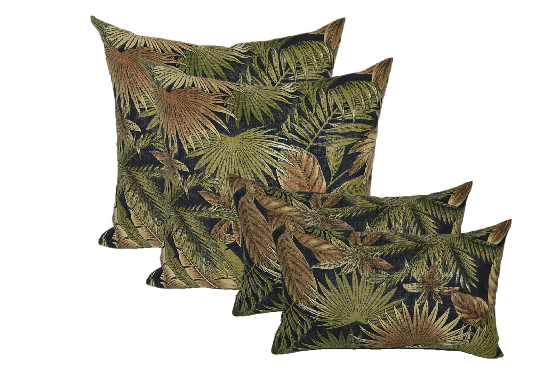 "Set of 4 Indoor / Outdoor Pillow Covers - 2 Square & 2 Rectangle / Lumbar - Tommy Bahama Black, Green, Tan Bahamian Breeze Tropical Palm Leaf - Choose Size (20"" x 20"" square & 11"" x 19"" lumbar)"
