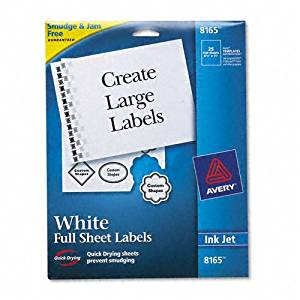 Avery : Shipping Labels with TrueBlock Technology, 8-1/2 x 11, White, 25 per Pack -:- Sold as 2 Packs of - 25 - / - Total of 50 Each