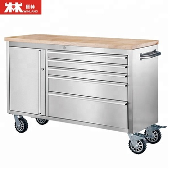 56 Inch Metal Tool Chest Tool Cabinet Trolley With Wood Top With