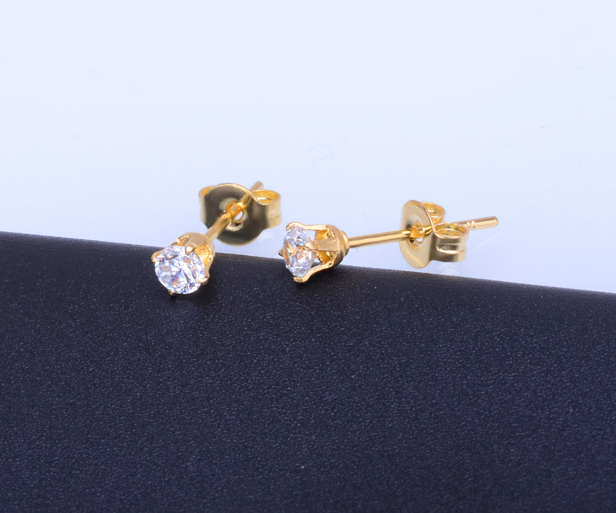 Plain Round Stud 925 Silver Single Stone Earring Designs Product On