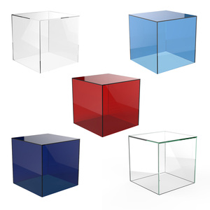 Colored Acrylic Cube Display Stand Square 5 Sided Box Perspex Tray Retail Shop Holder Lucite Display Box