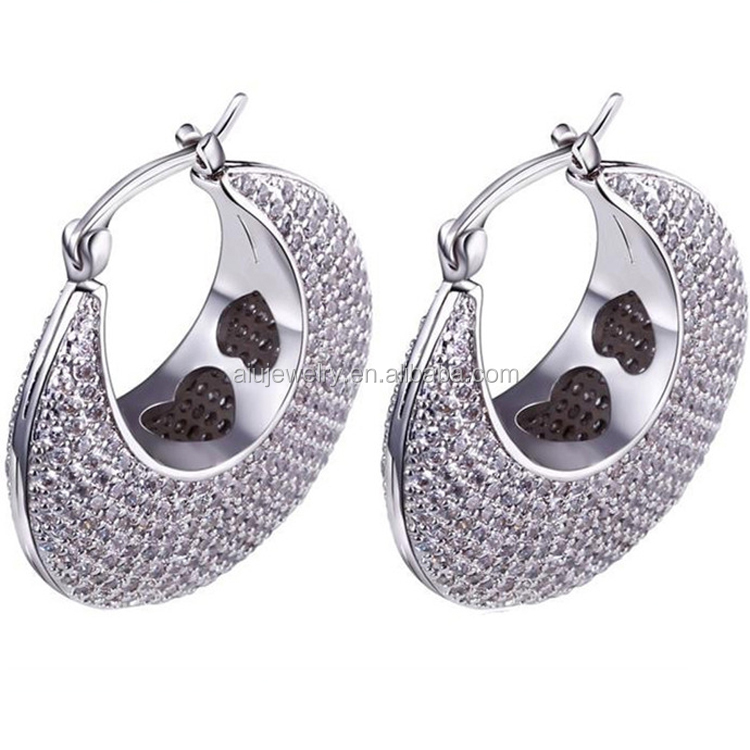 Platinum Plated Hoop Earrings for Women Micro Pave Setting