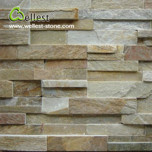 Natural Split Surface Yellow Wood Slate 3D Wall Tile for Exterior Wall