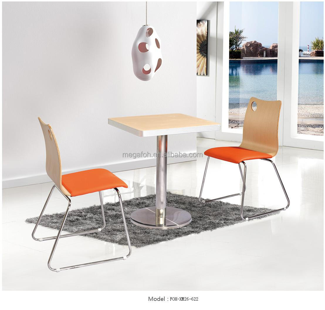 new design stainless steel coffee shop table and chair foh xm26