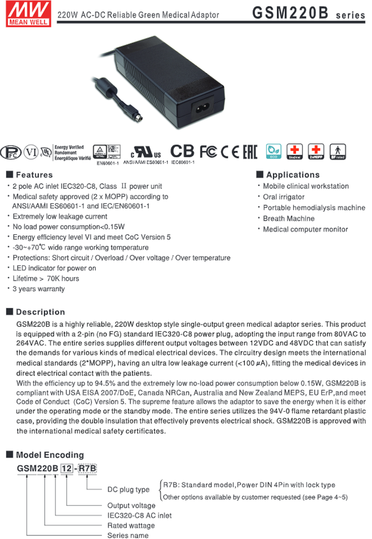 Meanwell 180W Desktop Adaptor 12 V AC DC Medis Adaptor GSM220B12-R7B