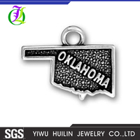 CN186668 Yiwu Huilin jewelry Oklahoma charms Antique Tibetan silver Oklahoma Map charms pendants