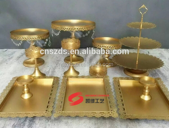 12pcs/set gold metal cake stand set candy dessert cake tray for wedding and party & 12pcs/set Gold Metal Cake Stand Set Candy Dessert Cake Tray For ...