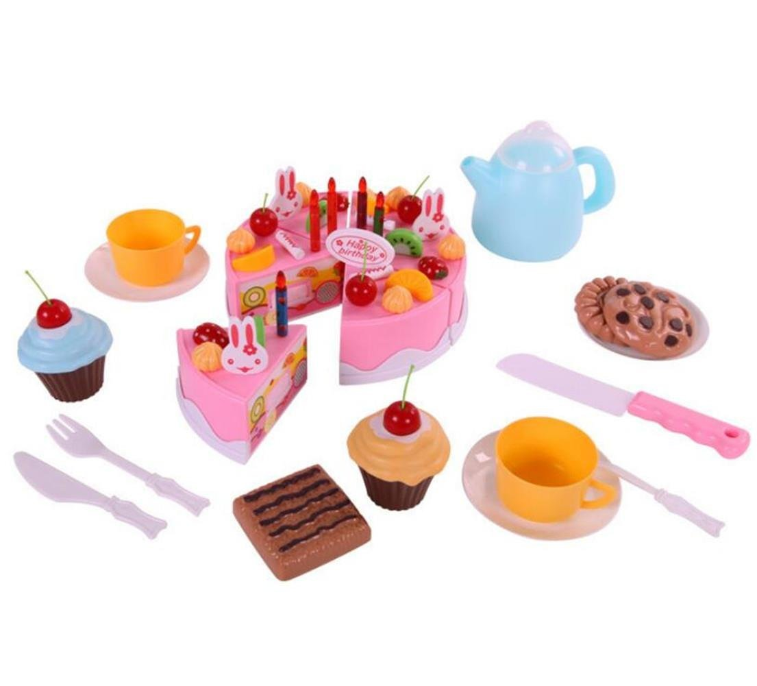 DIY Birthday Cake Set,AxiEr Children's Day gift Food Play Toy Set DIY cutting Pretend Play Birthday Party Cake with Candles for Children Kids babies girls 54pcs,Pink