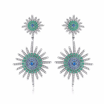 LUOTEEMI 2018 New Fashion Ethnic Big Star Dangle Earrings For Women Multi Cubic Zirconia Paved Statement Earrings Brincos Gifts