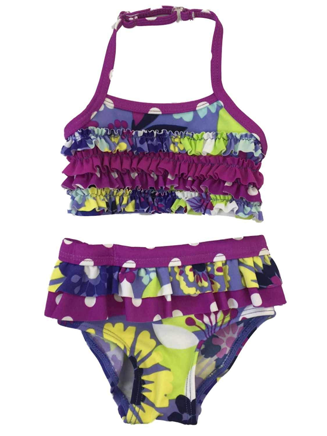 f9b800e510 Get Quotations · KOALA Infant Girls Purple Floral Ruched 2 Piece Bikini  Swimming   Bathing Suit Newborn