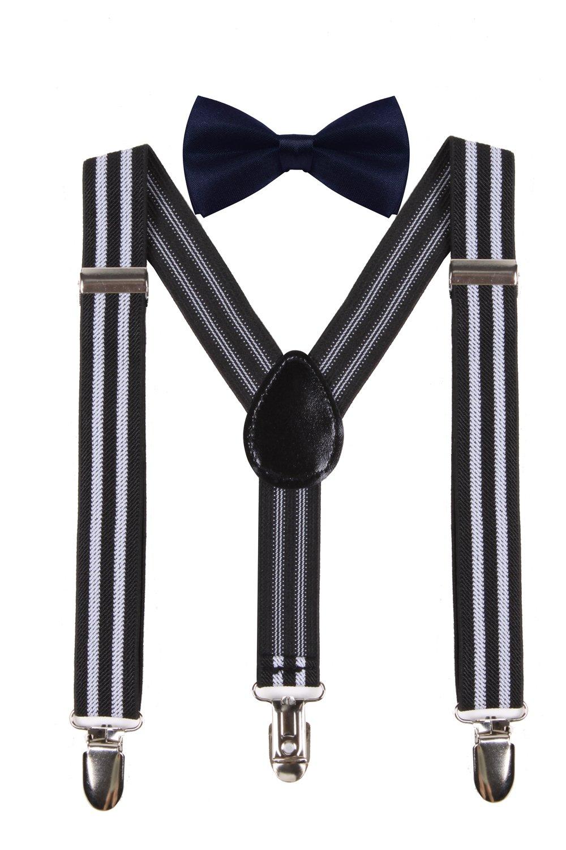 WDSKY Kids Boys Elastic Adjustable Suspenders Matching Bow Tie Set for Child